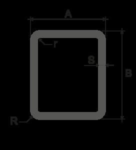 Profili alluminio tubi rettangolari raggiati